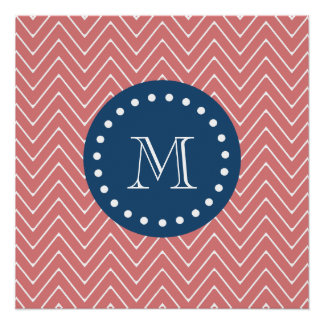 Navy Blue, Peach Chevron Pattern | Your Monogram Perfect Poster