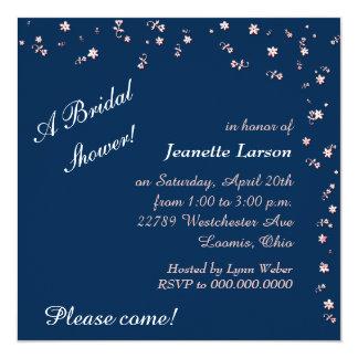 Navy Blue Peach Flower Border Bridal Shower Card