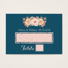 Navy Blue Peach Pink Floral Place Setting Cards at Zazzle