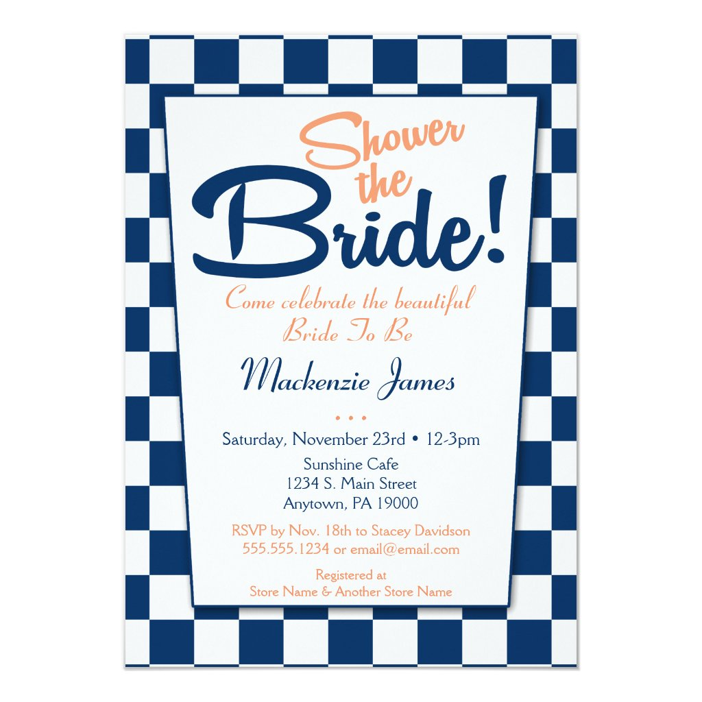 Navy Blue Peach Retro 50s Bridal Shower Invitation