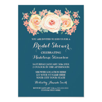 Navy Blue Peach Watercolor Floral Bridal Shower Card