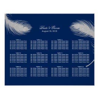 Navy Blue Peacock Feather Wedding Seating Chart Poster