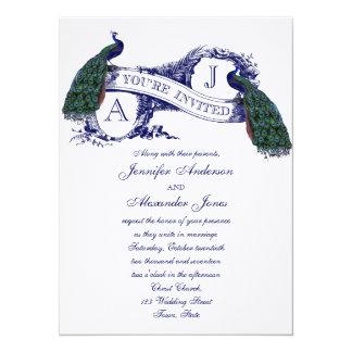 Navy Blue Peacock Wedding Invitation