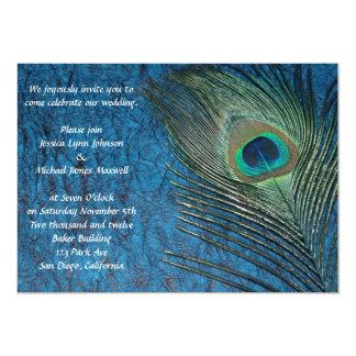 "Navy Blue Peacock Wedding 5"" X 7"" Invitation Card"