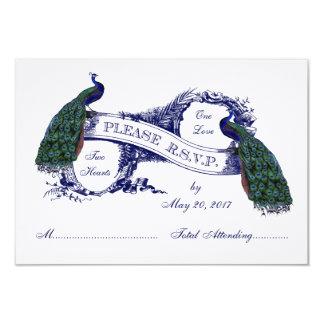 Navy Blue Peacocks Vintage Wedding RSVP Card
