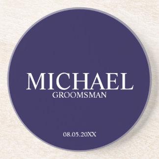 Navy Blue Personalized Groomsmen Coaster