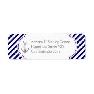 Navy blue, pink anchor nautical wedding label