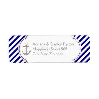 Navy blue, pink anchor nautical wedding return address label