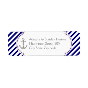 Beach Themed Navy blue, pink anchor nautical wedding label