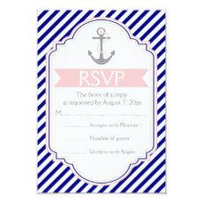 Navy blue, pink anchor nautical wedding RSVP 3.5