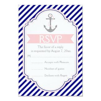 Navy blue, pink anchor nautical wedding RSVP 3.5x5 Paper Invitation Card