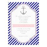 Navy blue, pink anchor & stripes nautical wedding cards