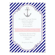 Navy blue, pink anchor & stripes nautical wedding 5