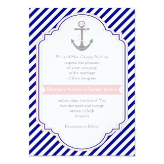 Navy blue, pink anchor & stripes nautical wedding 5x7 paper invitation card