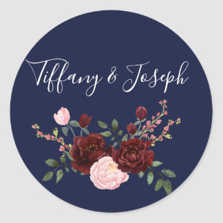 Navy Blue Pink Burgundy Rose Floral Wedding Classic Round Sticker