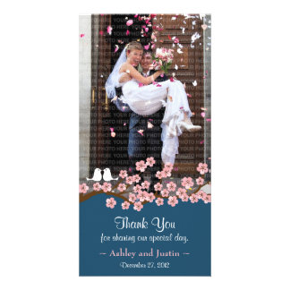Navy Blue & Pink Cherry Blossom Photo Thank You Card