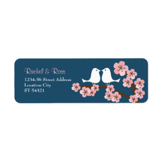 Navy Blue & Pink Cherry Blossom Spring Wedding Label