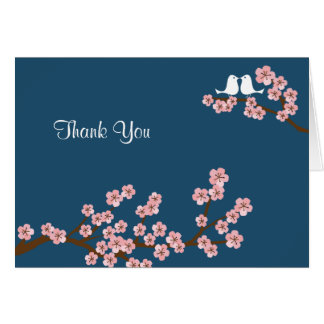 Navy Blue & Pink Cherry Blossom Thank You Card