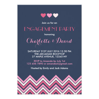 Navy Blue Pink Chevron Engagement Party Invitation
