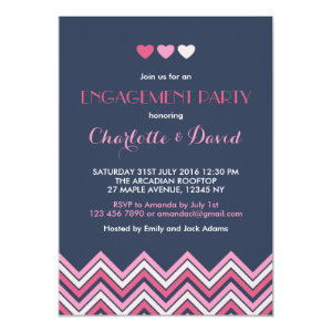 Navy Blue Pink Chevron Engagement Party Invitation 5