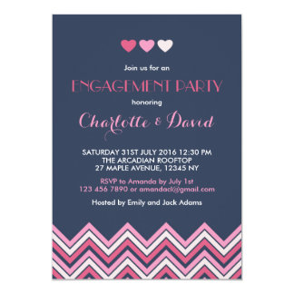 Navy Blue Pink Chevron Engagement Party Invitation