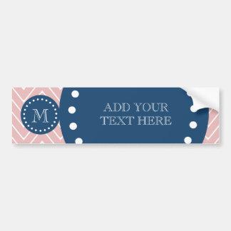Navy Blue, Pink Chevron Pattern | Your Monogram Bumper Sticker