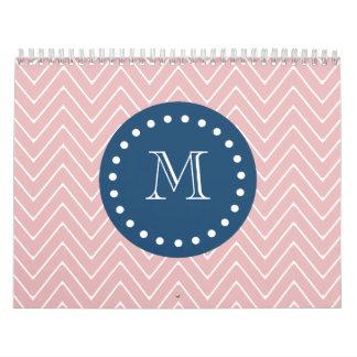 Navy Blue, Pink Chevron Pattern | Your Monogram Wall Calendars