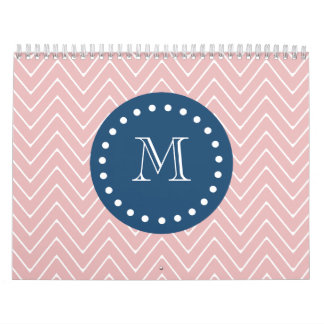 Navy Blue, Pink Chevron Pattern | Your Monogram Calendar