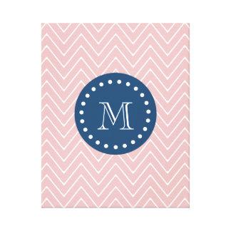 Navy Blue, Pink Chevron Pattern | Your Monogram Canvas Print