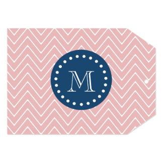 Navy Blue, Pink Chevron Pattern   Your Monogram Card