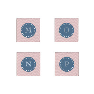 Navy Blue, Pink Chevron Pattern   Your Monogram Stone Magnet