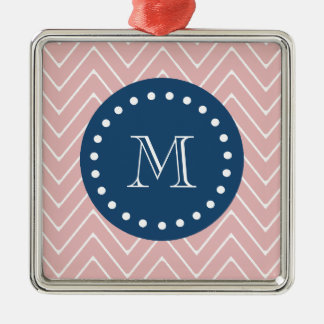 Navy Blue, Pink Chevron Pattern | Your Monogram Christmas Tree Ornaments