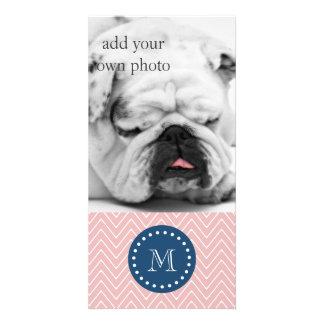 Navy Blue, Pink Chevron Pattern | Your Monogram Photo Card Template