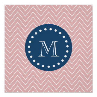 Navy Blue, Pink Chevron Pattern | Your Monogram Perfect Poster