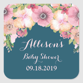 Navy Blue Pink Floral Baby Shower Tag