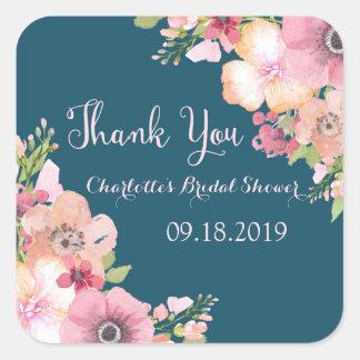 Navy Blue Pink Floral Bridal Shower Square Sticker