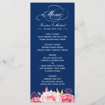 Navy Blue Pink Floral Wedding Menu Template