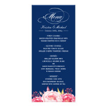 Navy Blue Pink Floral Wedding Menu Template