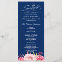 Navy Blue Pink Floral Wedding Program Template