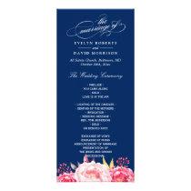 Navy Blue Pink Floral Wedding Program Template