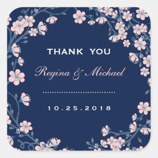 Navy Blue Pink Floral Wreath Wedding Favor Sticker