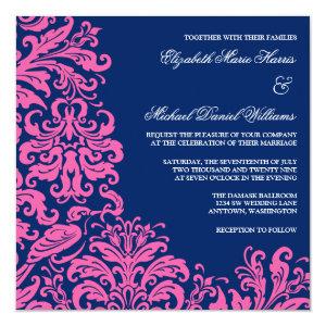 Navy Blue Pink Flourish Damask Wedding Invitations 5.25