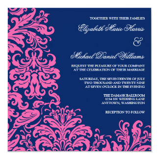 Navy Blue Pink Flourish Damask Wedding Invitations