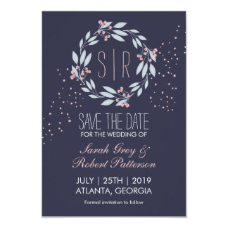 Navy Blue Pink Flower Wreath Wedding Save The Date Card