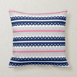Navy Blue Pink Gray Lace Ribbon Stripe Pillow