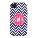 Navy Blue & Pink Modern Chevron Custom Monogram iPhone 4/4S Case