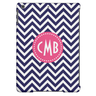 Navy Blue & Pink Modern Chevron Custom Monogram iPad Air Cases