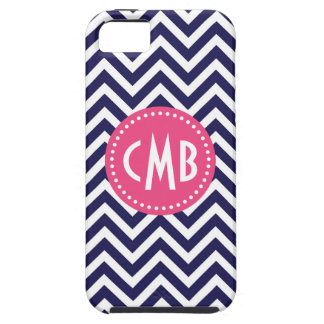 Navy Blue & Pink Modern Chevron Custom Monogram iPhone 5 Case