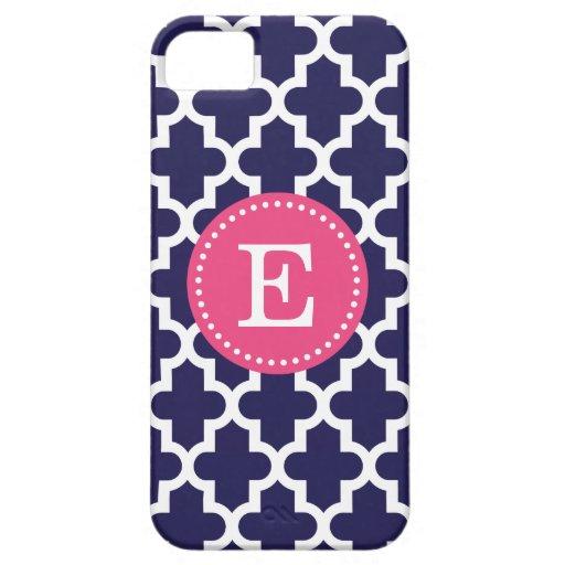 Navy Blue & Pink Modern Moroccan Custom Monogram iPhone SE/5/5s Case