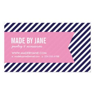Navy Blue Pink Modern Stripes Ribbon Business Card Templates